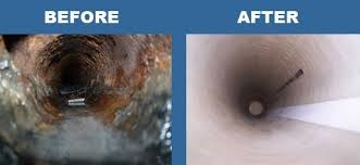 High pressure jet cleaning of drains and storm water pipes before and after
