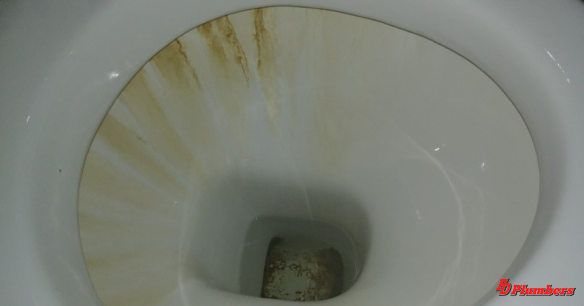 Continuous water leak stained toilet